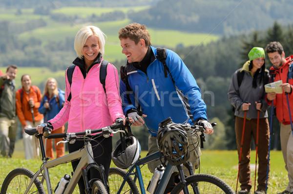 Ciclista Coppia montagna bikes rilassante Foto d'archivio © CandyboxPhoto