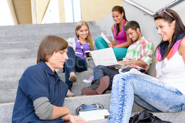 Students relaxing on high-school steps in break Stock photo © CandyboxPhoto