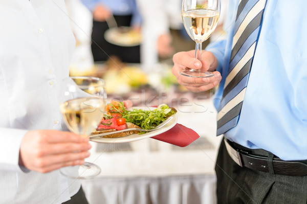 Business refreshments close-up appetizer plate and wine Stock photo © CandyboxPhoto