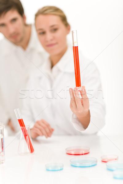 Tudósok laboratórium influenza vírus kémcső piros Stock fotó © CandyboxPhoto