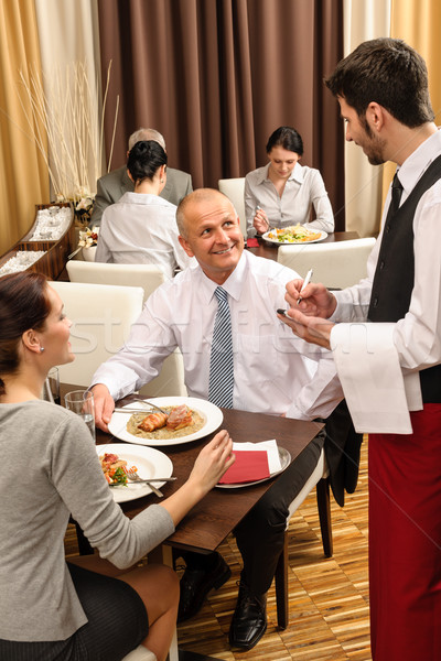 Business lunch waiter taking order at restaurant Stock photo © CandyboxPhoto