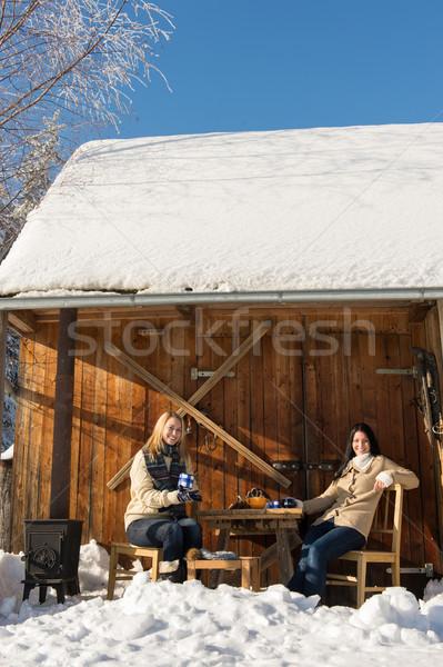 2 楽しむ 茶 雪 冬 ストックフォト © CandyboxPhoto