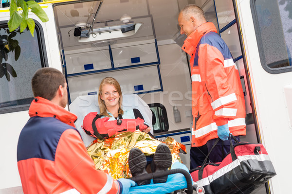 Emergency doctor with woman in ambulance Stock photo © CandyboxPhoto