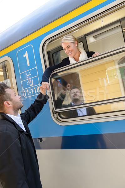 Kadın tren adam veda çift gülen Stok fotoğraf © CandyboxPhoto