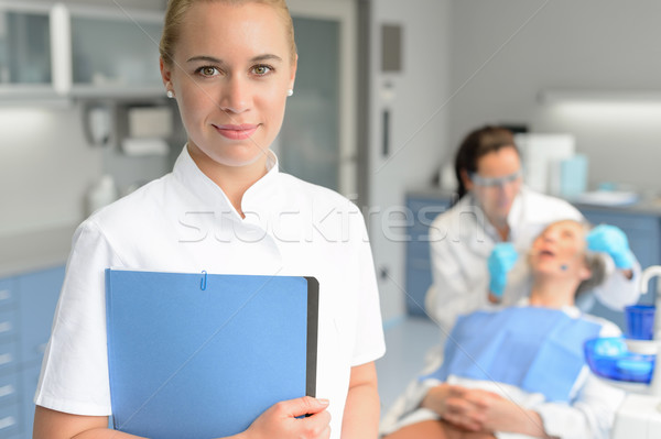 Dental assistant dentist checkup woman patient Stock photo © CandyboxPhoto