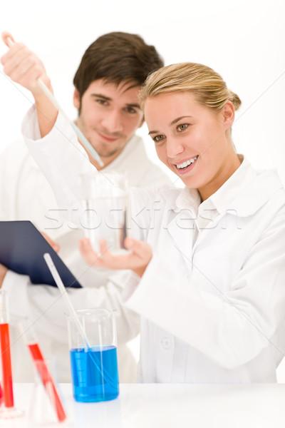 Tudósok laboratórium vegyszerek tesztelés vírus oltás Stock fotó © CandyboxPhoto