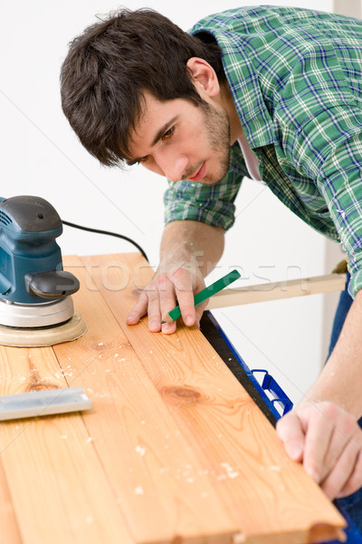 Home improvement - handyman prepare wooden floor Stock photo © CandyboxPhoto