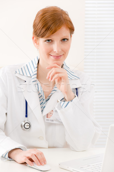Doctor office - female physician work computer Stock photo © CandyboxPhoto