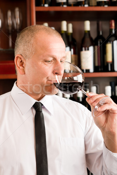 Bar waiter taste glass red wine restaurant Stock photo © CandyboxPhoto