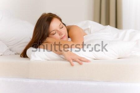 çıplak kadın beyaz yatak şampanya iki Stok fotoğraf © CandyboxPhoto