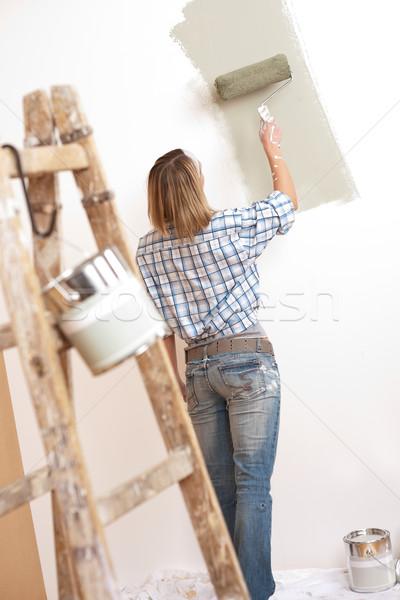 Foto stock: Melhoramento · da · casa · loiro · mulher · pintura · parede · pintar