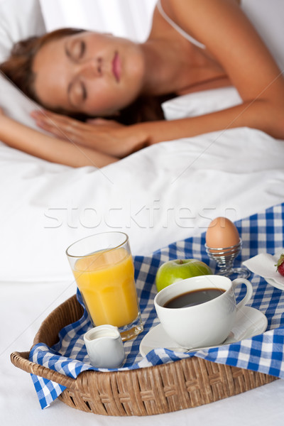 Desayuno cama dormir café Foto stock © CandyboxPhoto