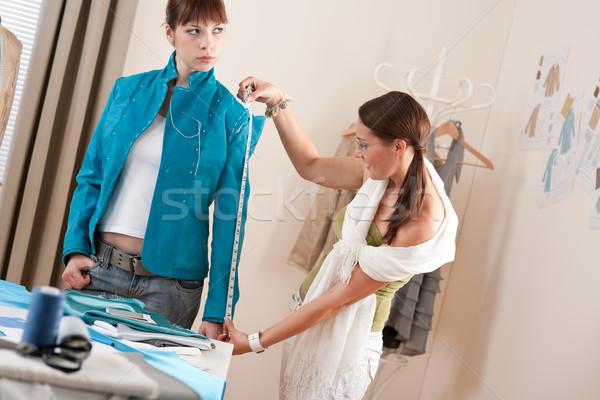 Stock fotó: Női · divat · designer · mér · kabát · modell