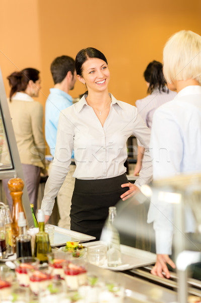 Cafeteria lunch office women chat serving queue Stock photo © CandyboxPhoto