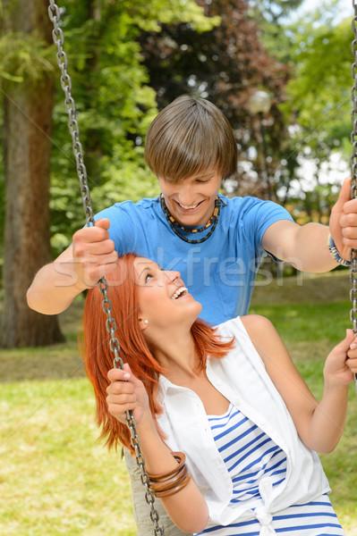 Copain petite amie date Swing séance Photo stock © CandyboxPhoto