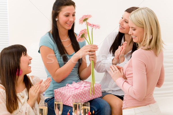 Birthday party - woman getting present and flower Stock photo © CandyboxPhoto
