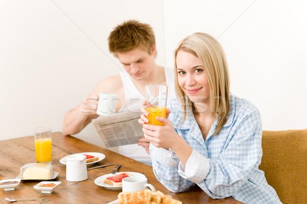 Stockfoto: Ontbijt · gelukkig · paar · genieten · vers · ochtend