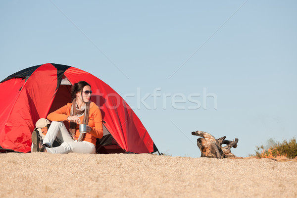 Camping happy woman sitting outside beach tent Stock photo © CandyboxPhoto