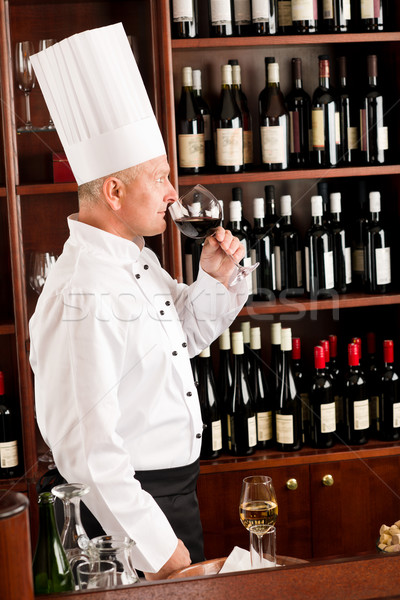 Chef Cook odeur verre de vin restaurant verre Photo stock © CandyboxPhoto
