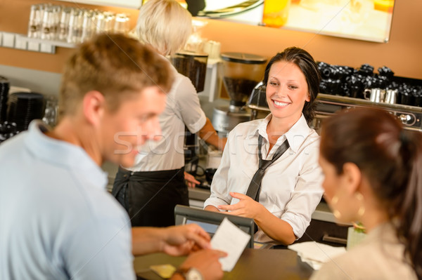 Couple paying bill at cafe cash desk Stock photo © CandyboxPhoto