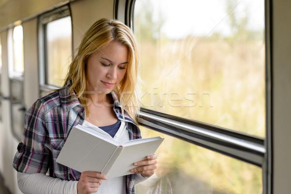 女性 読む 図書 列車 ウィンドウ ストックフォト © CandyboxPhoto