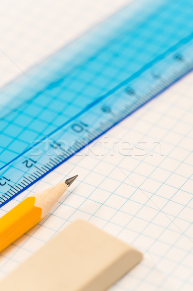School geometry supplies pencil, rubber and ruler Stock photo © CandyboxPhoto