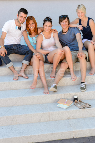 Happy college students sitting on stairs summer Stock photo © CandyboxPhoto