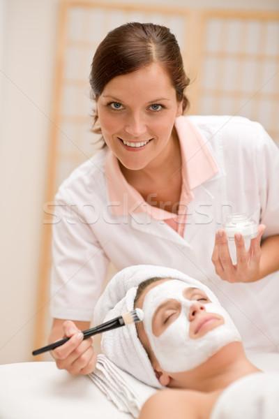 Facial mask - woman at beauty salon Stock photo © CandyboxPhoto