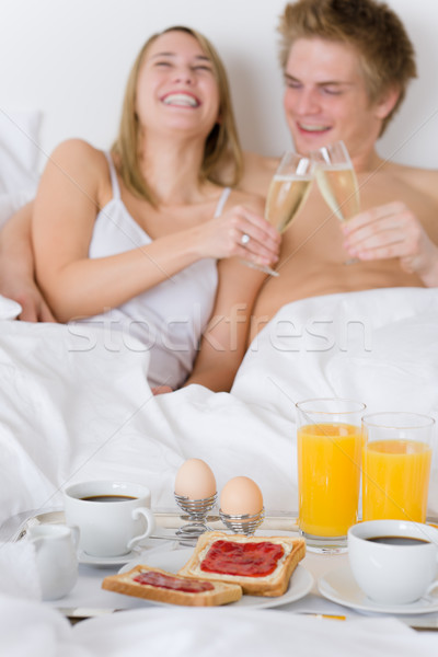 роскошь отель медовый месяц завтрак пару кровать Сток-фото © CandyboxPhoto