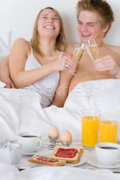 Lüks otel balayı kahvaltı çift yatak Stok fotoğraf © CandyboxPhoto