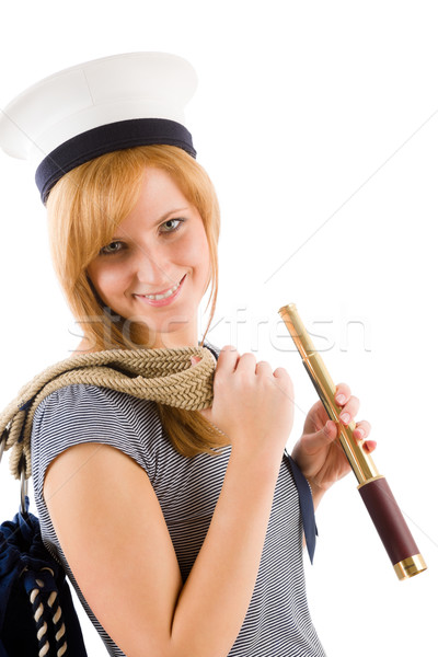 小さな 海洋 女性 船乗り 帽子 幸せ ストックフォト © CandyboxPhoto