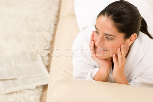 魅力のある女性 白 バスローブ ソファ 思考 ラウンジ ストックフォト © CandyboxPhoto