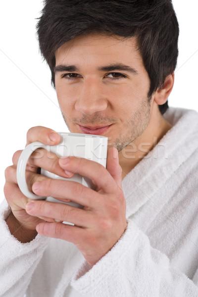午前 若い男 バスローブ カップ コーヒー 白 ストックフォト © CandyboxPhoto
