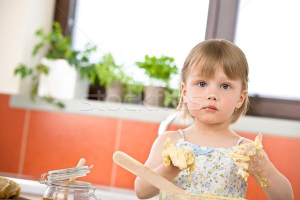 Child baking - little girl kneading dough Stock photo © CandyboxPhoto