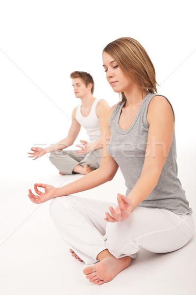 Foto stock: Fitness · jóvenes · saludable · Pareja · yoga · posición