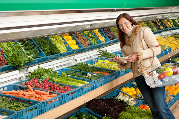 Grocery store shopping - Woman holding spring onion Stock photo © CandyboxPhoto