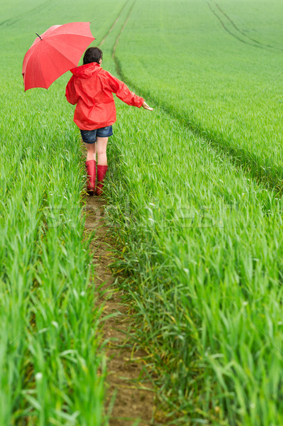 Lonely girl walking in the rain Stock photo © CandyboxPhoto