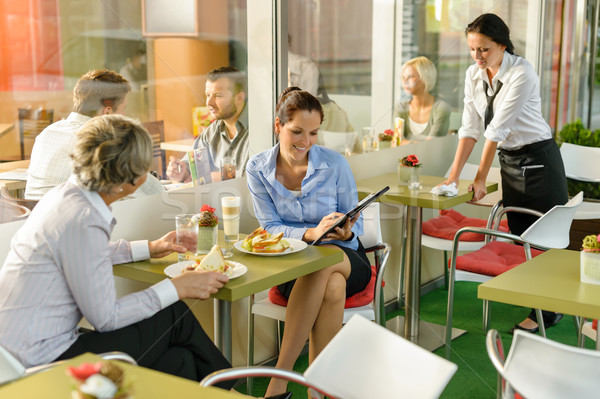 Businesswomen talking business in lunch break cafe Stock photo © CandyboxPhoto