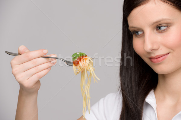Stok fotoğraf: İtalyan · gıda · sağlıklı · kadın · yemek · spagetti · sos