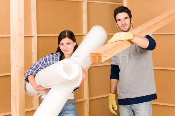 Foto stock: Melhoramento · da · casa · trabalhar · jovem · feliz · casal