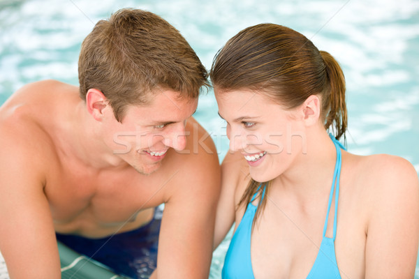 Swimming pool - young loving couple have fun Stock photo © CandyboxPhoto