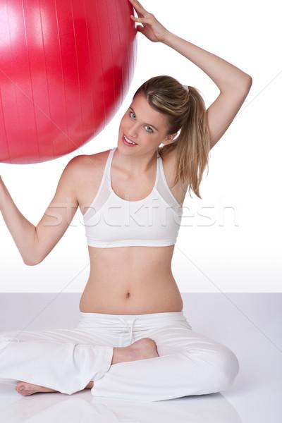 Сток-фото: фитнес · осуществлять · мяча · белый · молодые