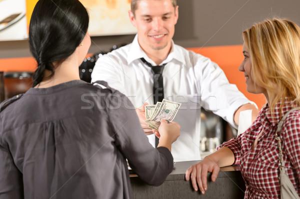 Stock fotó: Női · vásárlók · fizet · pénz · usd · bár