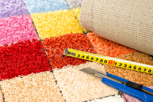 Carpeting knife, swatches and tape measure Stock photo © CandyboxPhoto