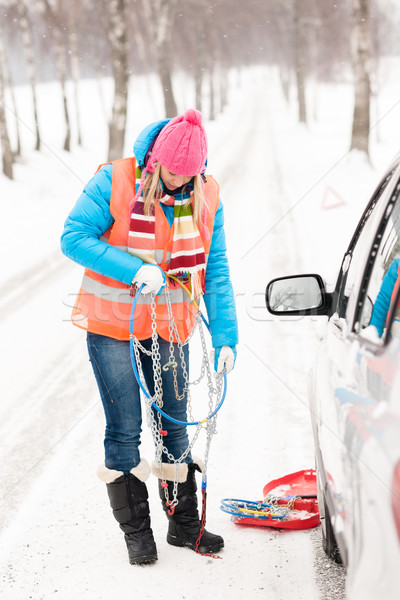 Nő tart autó lánc tél autógumi Stock fotó © CandyboxPhoto