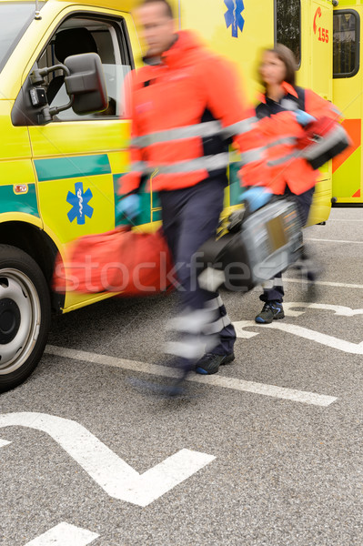 Rushing blurry paramedic unit portable devices truck Stock photo © CandyboxPhoto