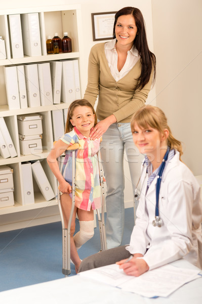 At the pediatrician little girl with crutches Stock photo © CandyboxPhoto