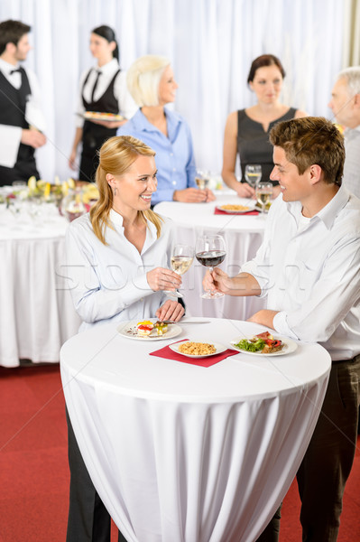 Foto stock: Reunião · de · negócios · banquete · homem · mulher · celebrar · vinho