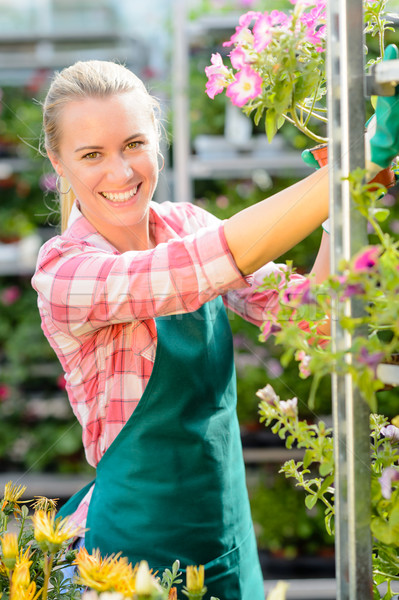 Smiling garden center woman working potted flowers Stock photo © CandyboxPhoto