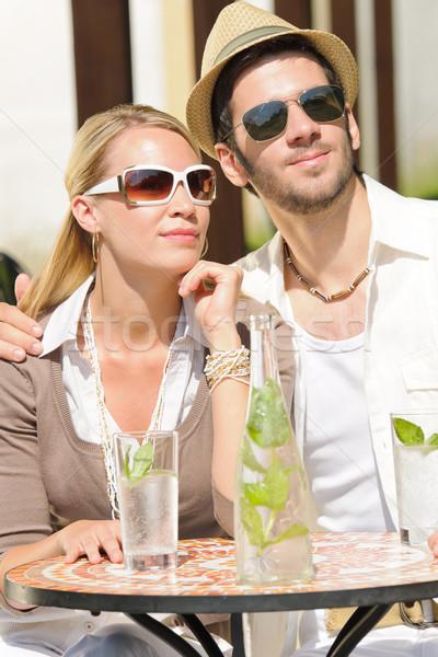 Restaurant terrasse élégante couple boire Photo stock © CandyboxPhoto